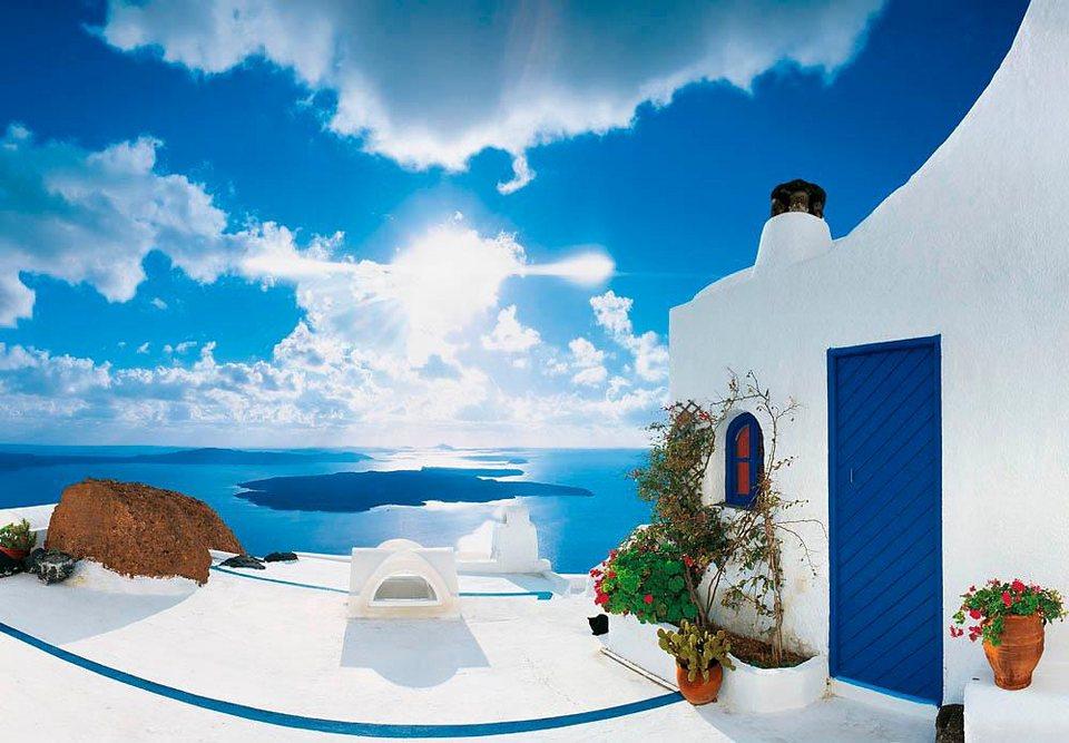 Home affaire Fototapete »Sonnenuntergang Santorini«, 366/254 cm in blau/weiß