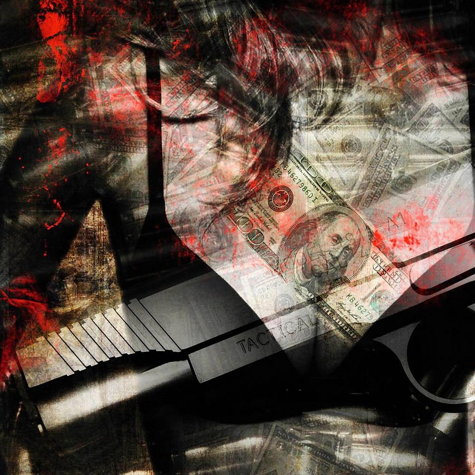 Home affaire Deco Block »Jacksart - guns«, 90/90 cm in schwarz/grau