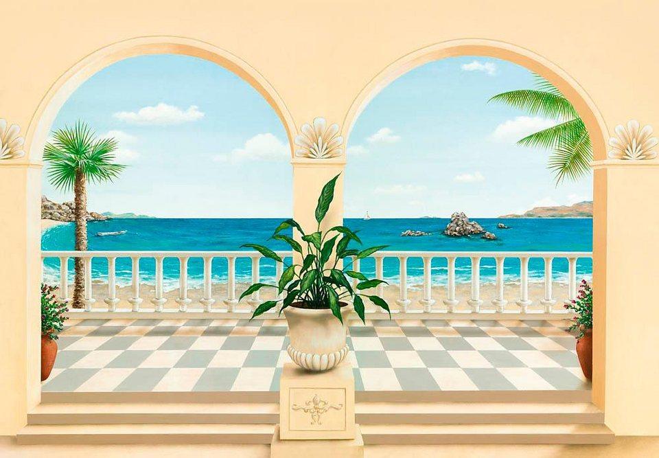 Home affaire Fototapete »Terrasse Provencale«, 366/254 cm in creme/blau