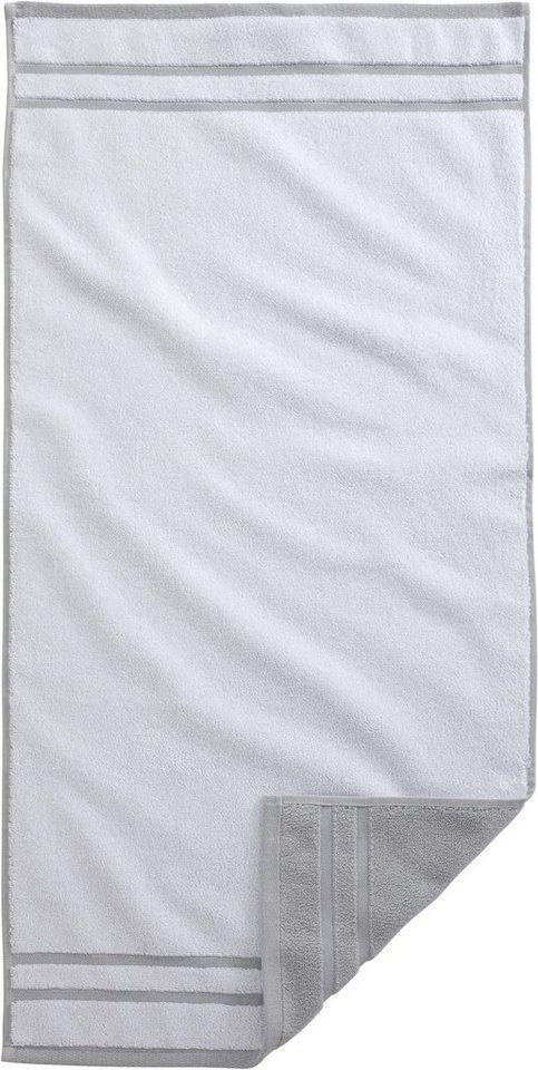 Badetuch, Egeria, »Double«, mit Wendeoptik in weiß/grau