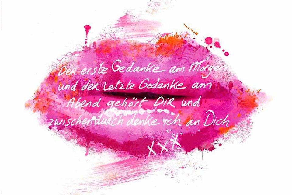 Home affaire Deco Panel »Jacksart - Rosa Lippen«, 90/60 cm in pink