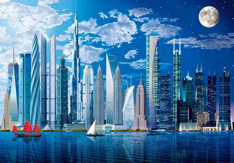 Home affaire Fototapete »Höchste Gebäude der Welt«, 366/254 cm in blau