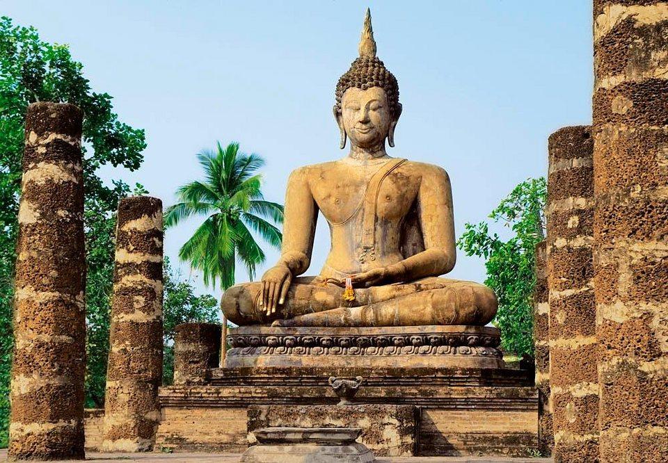Home affaire Fototapete »Sukhothai, Wat Sra Si Tempel«, 366/254 cm in beige/blau