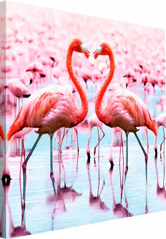 Home affaire Deco Block »Tropical - Flamingo«, 40/40 cm in rosa/pink