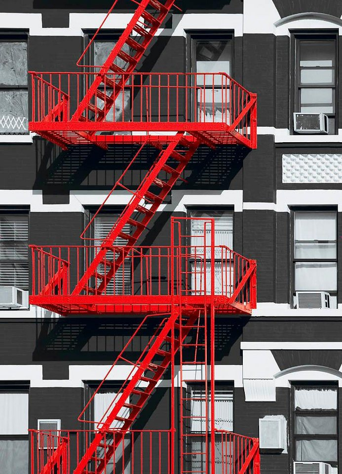 Home affaire Fototapete »Feuerleiter«, 183/254 cm in grau/rot