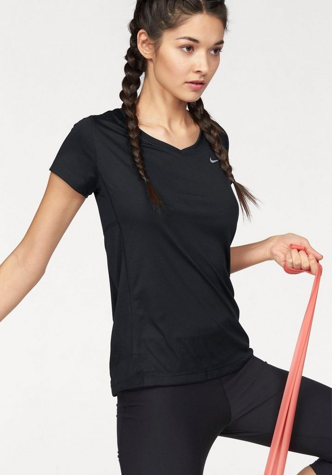 Nike Laufshirt »MILER V-NECK« in schwarz