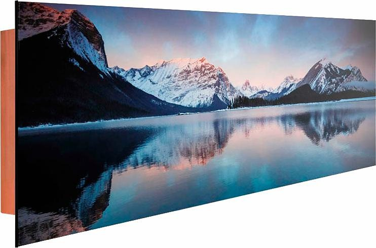 Home affaire Deco Panel »Sonnenaufgang Bergsee«, 156/52 cm in blau/grau