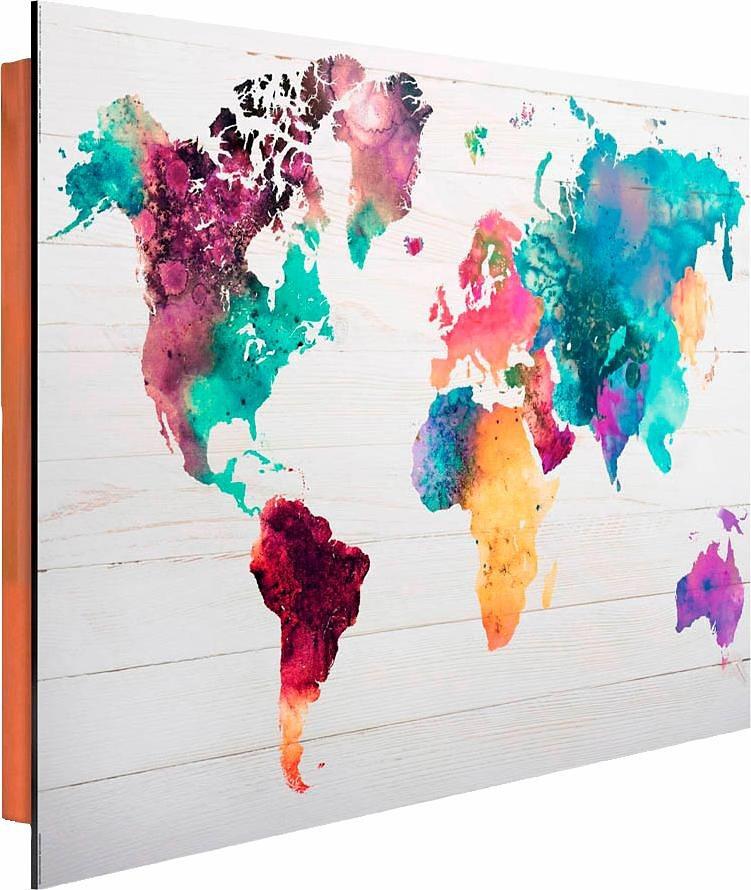 Home affaire Deco Panel »Weltkarte in Wasserfarben«, 90/60 cm in bunt