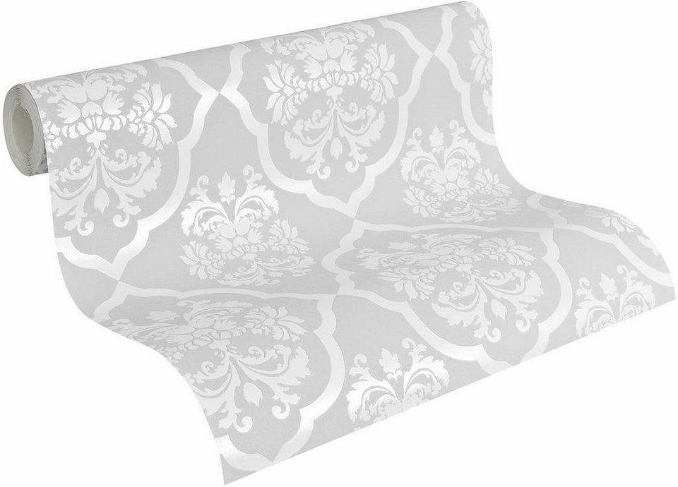 Vliestapete, Naf Naf, »Mustertapete, klassisch, neo-barock« in grau-weiß
