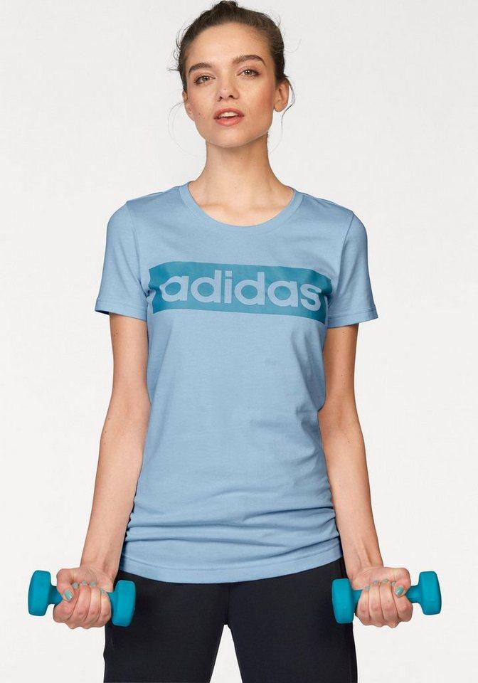 adidas Performance ESSENTIALS LINEAR TEE T-Shirt in Hellblau-Blau