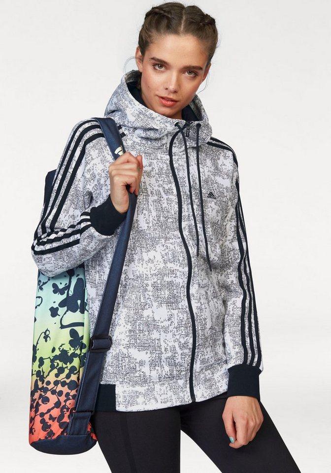 adidas Performance Kapuzensweatjacke »ESSENTIALS 3S HOODIE AOP« in weiß-schwarz