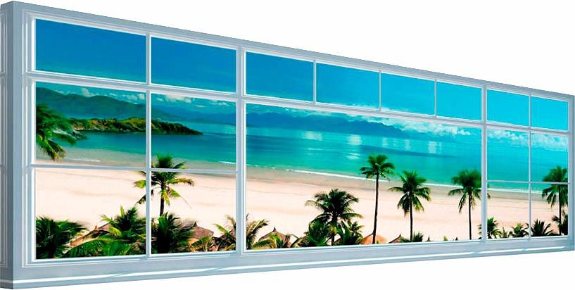 Home affaire Deco Block »Strand Fenster«, 118/40 cm in blau
