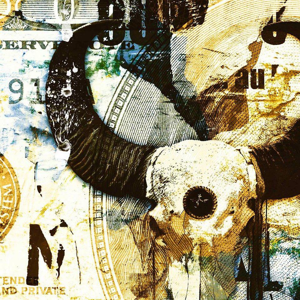 Home affaire Deco Block »Jacksart - skull Blau/Gelb«, 90/90 cm in weiß/gelb