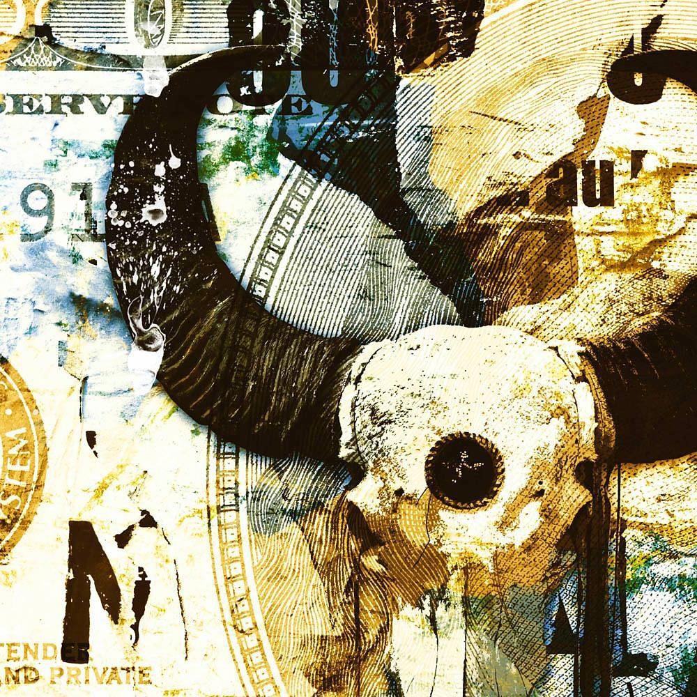 Home affaire Deco Block »Jacksart - skull Blau/Gelb«, 90/90 cm