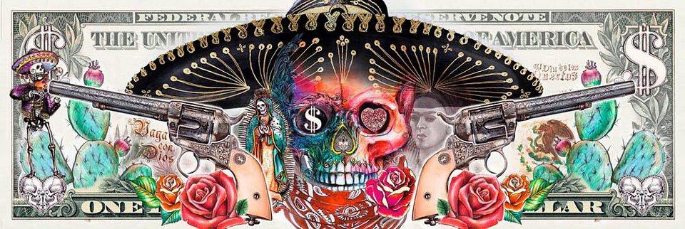 Home affaire Deco Panel »Skull«, 156/52 cm in bunt