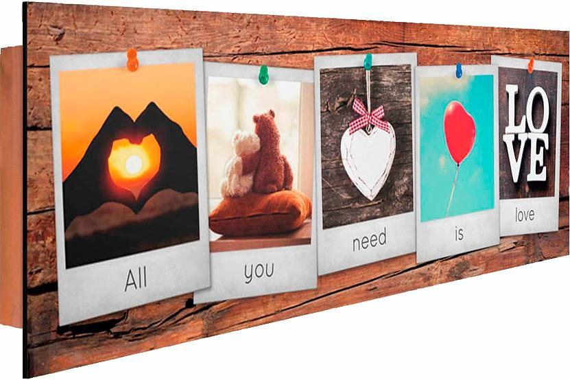 Home affaire Deco Panel »All You Need Is Love II«, 90/30 cm in bunt