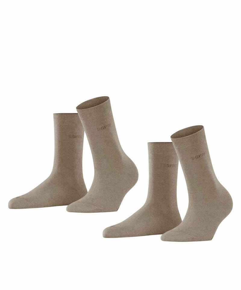 Esprit Socken »Uni 2-Pack« (2-Paar) aus elastischem Material