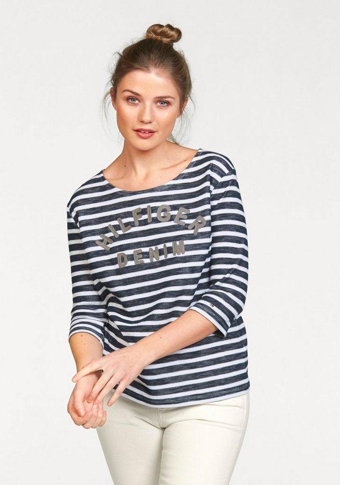 Hilfiger Denim T-Shirt mit Markenschriftzug in navy-weiß-gestreift