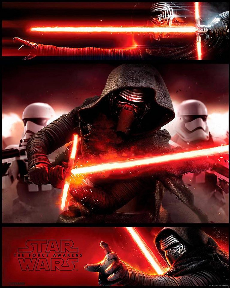 Home affaire Deco Panel »Star Wars Force Awakens«, 40/50 cm in grau/rot