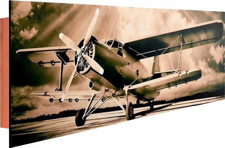 Home affaire Deco Panel »Flugbereit«, 156/52 cm in sepia