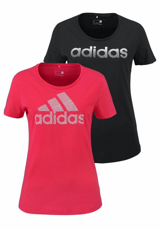 adidas Performance T-Shirt »BRANDING 2-PACK TEES« in koralle+schwarz