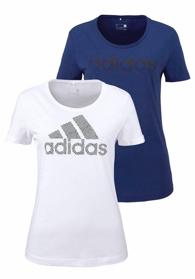 adidas Performance T-Shirt »BRANDING 2-PACK TEES« in weiß+marine