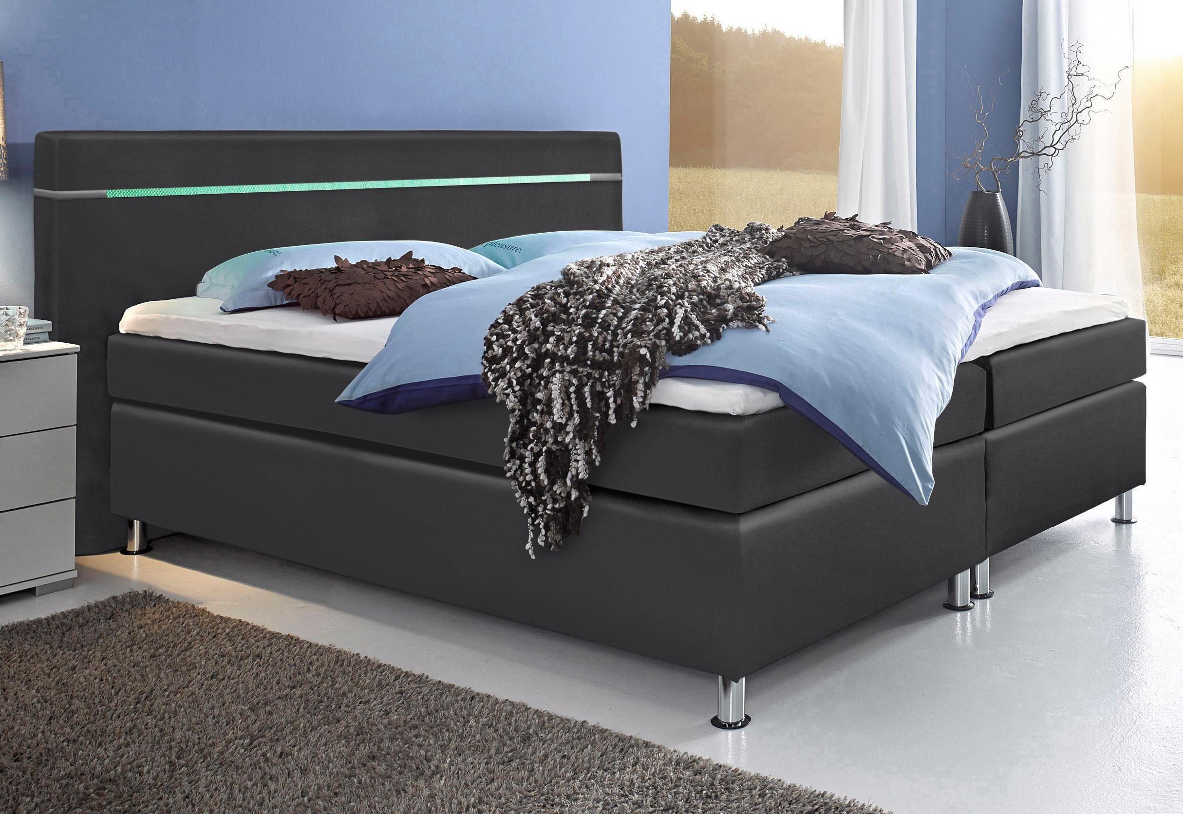 hapo Boxspringbett mit LED-RGB-Beleuchtung | Schlafzimmer | Schwarz - Anthrazit | Stoff - Polyester | hapo