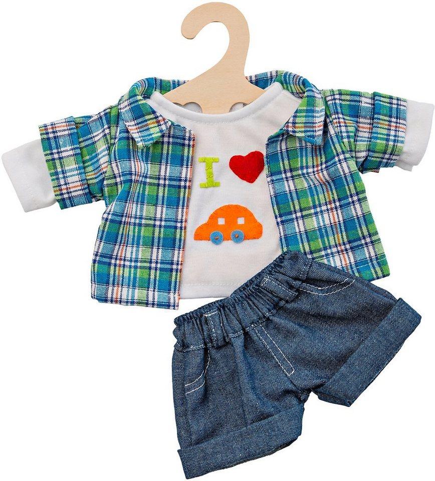 Heless® Puppenkleidung Größe 28-35 cm o. 35-45 cm, »Jeansshorts mit Hemd« (3tlg.)