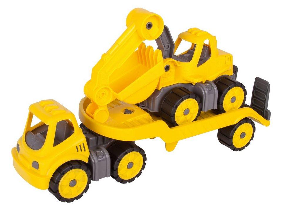 BIG Spielfahrzeugset, »BIG Power Worker Mini Transporter und Bagger gelb« (2tlg.) in gelb