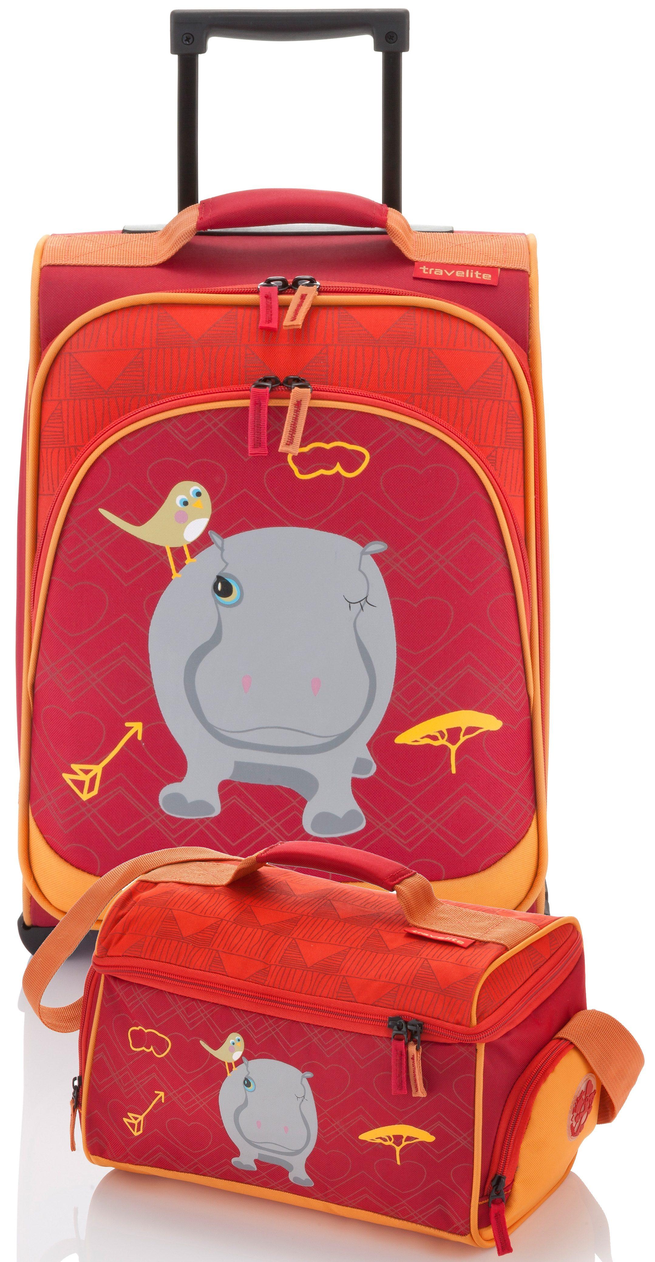 travelite Set: Trolley mit 2 Rollen und Reisetasche für Kinder, »Youngster Nilpferd« (2tlg.)