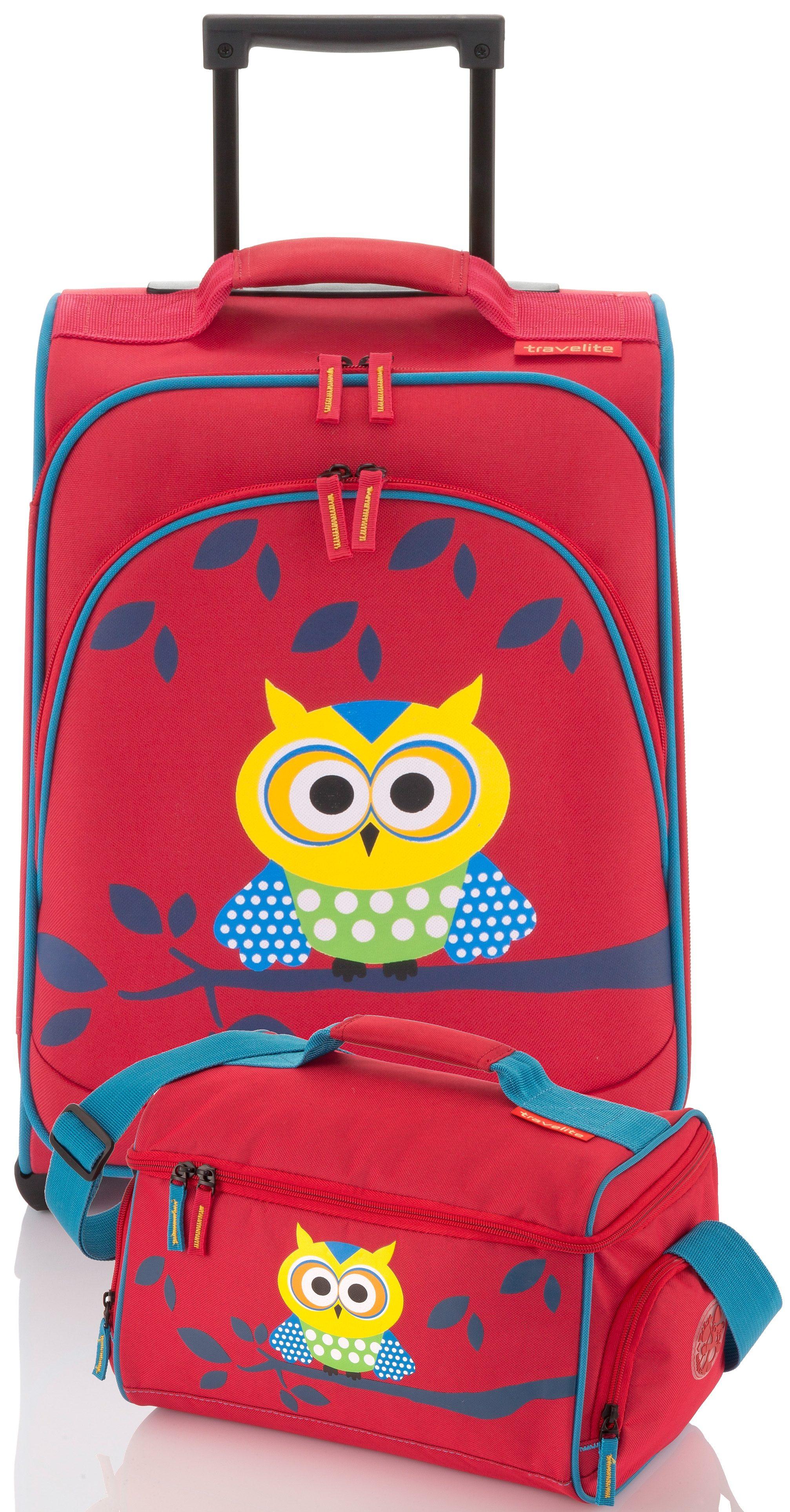 travelite Set: Trolley mit 2 Rollen und Reisetasche für Kinder, »Youngster Eule« (2tlg.)