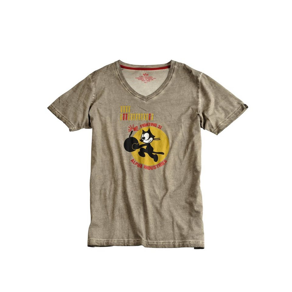 ALPHA INDUSTRIES T-Shirt »Bomb Cat T« in olive