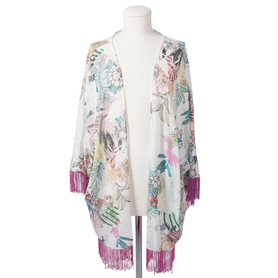 CODELLO Kimono mit Blumen-Muster in türkis