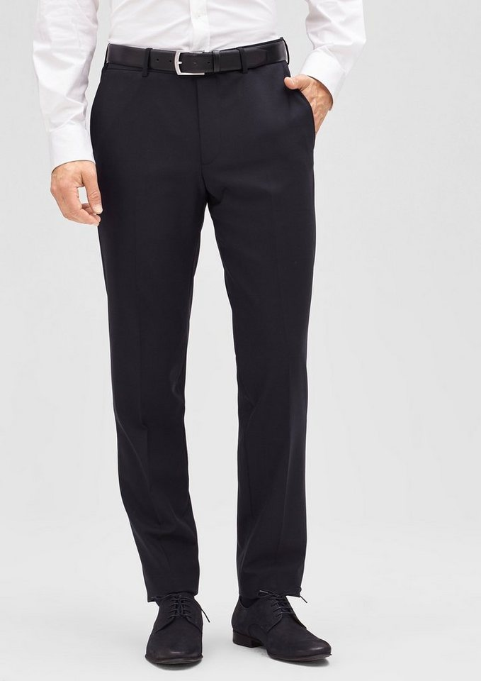 s.Oliver PREMIUM Slim: Hose aus Schurwoll-Stretch in navy