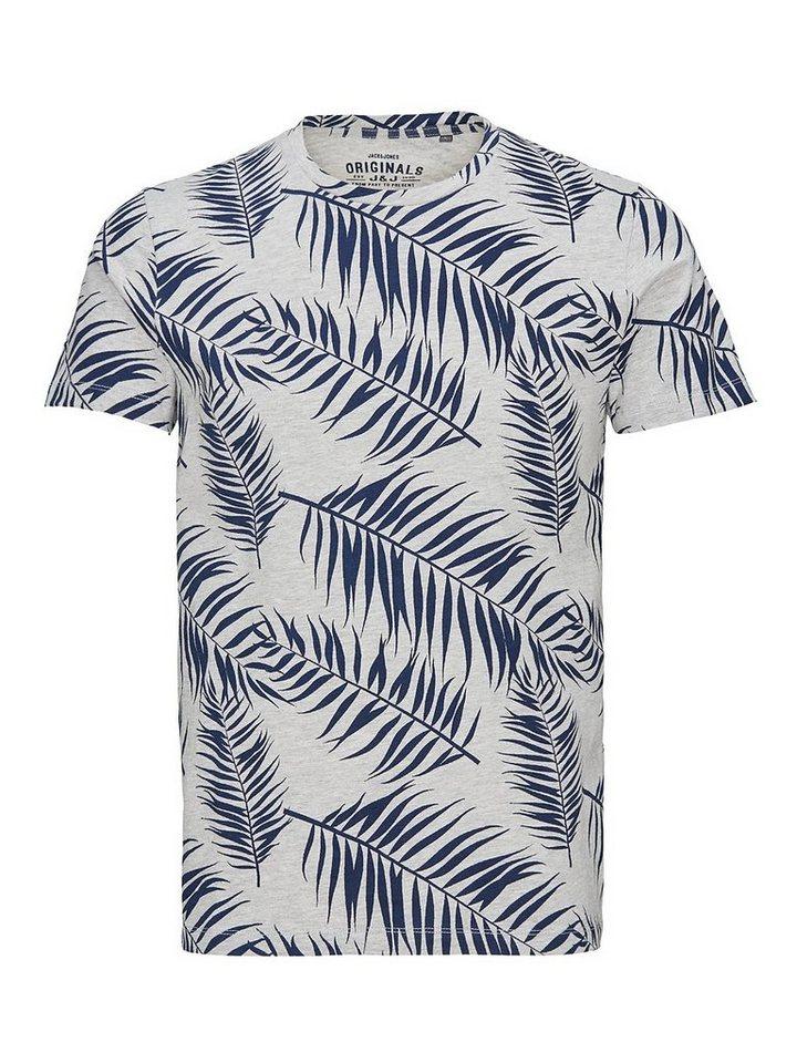 Jack & Jones Blätter-Print- T-Shirt in Light Grey Melange