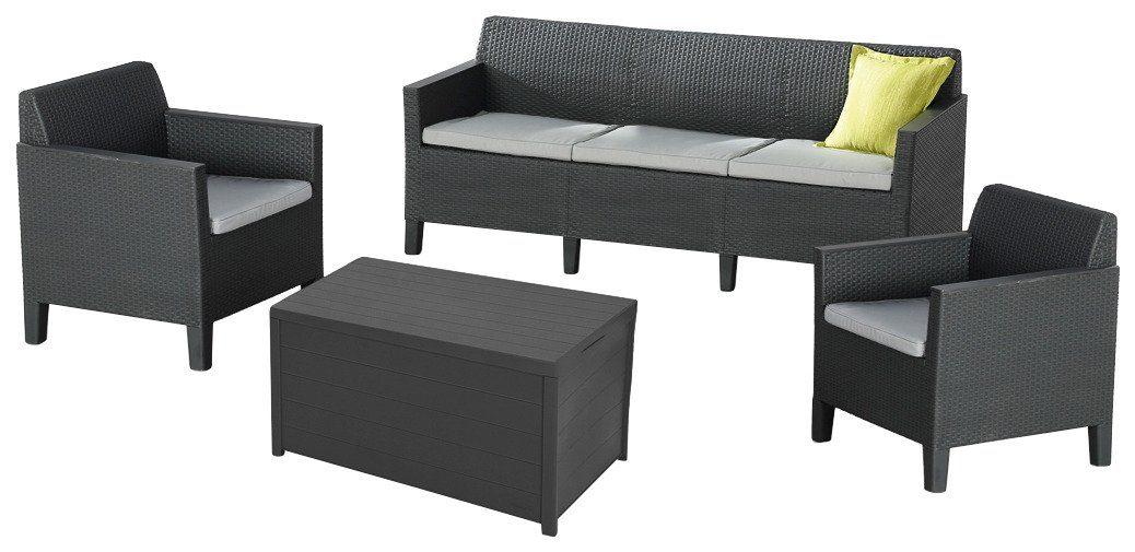 Best 8-tgl. Loungeset »Chicago«, 3er-Sofa, 2 Sessel, Tisch 78x59 cm, Kunststoff, grau