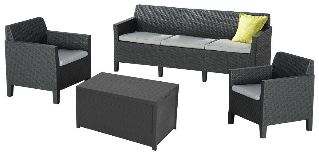 8-tgl. Loungeset »Chicago«, 3er-Sofa, 2 Sessel, Tisch 78x59 cm, Kunststoff, grau