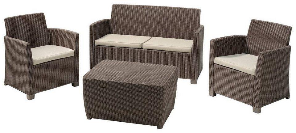 BEST Loungeset »Bali«, 8-tgl., 2er-Sofa, 2 Sessel, Tisch 80x60 cm, Polyrattan in cappuccinofarben