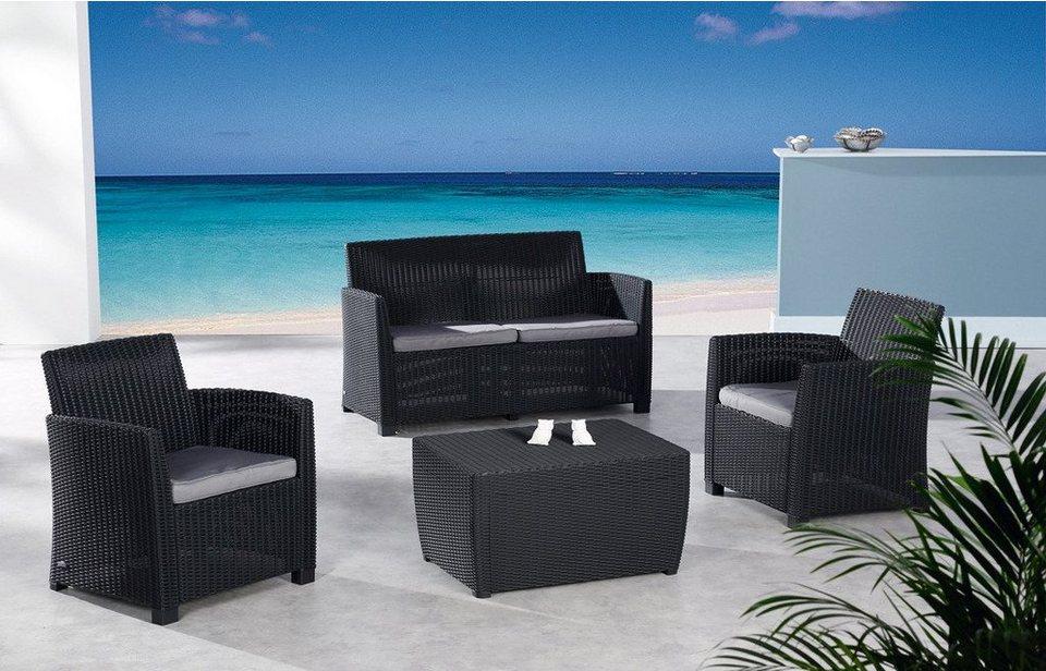 8-tgl. Loungeset »Bali«, 2er-Sofa, 2 Sessel, Tisch 80x60 cm, Kunststoff in grau schwarz
