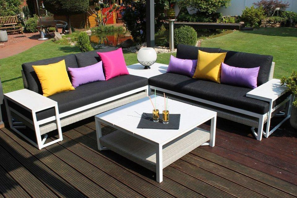 12-tgl. Loungeset »Modern Style«, 2 Sofas, 2 Tische, 2 Beistelltische, Alu, alpinweiß in alpinweiß