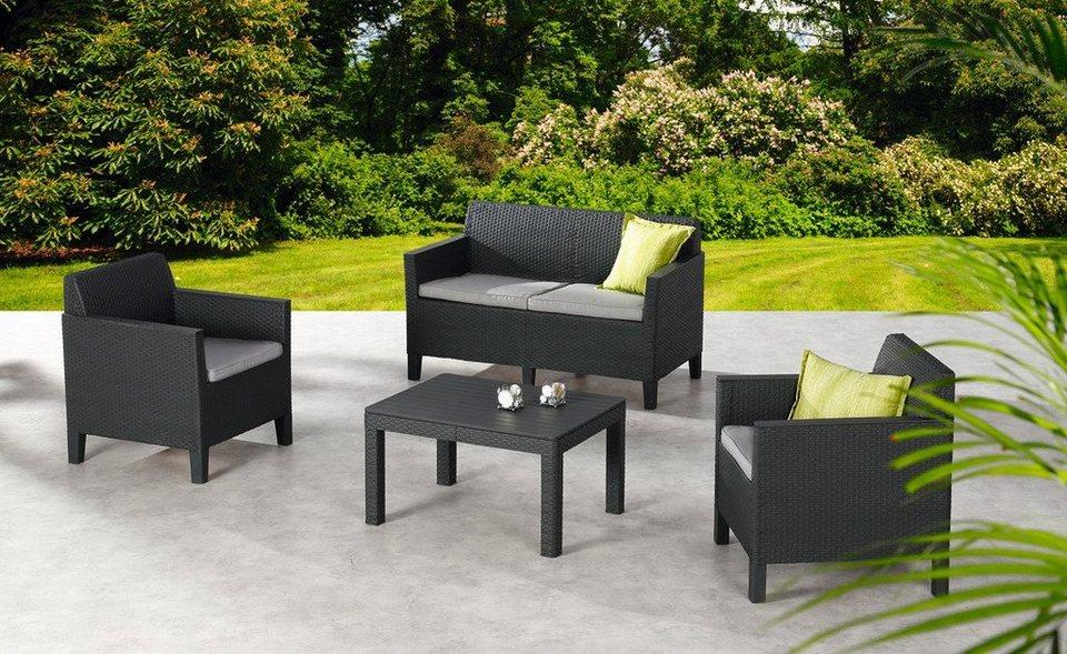 8-tgl. Loungeset »Chicago«, 2er Sofa, 2 Sessel, Tisch 78x59 cm, Kunststoff, anthrazit in anthrazit