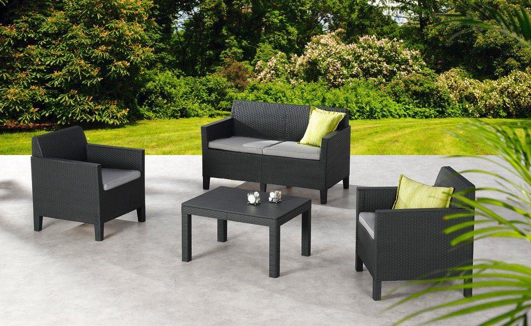 8-tlg. Loungeset »Chicago«, 2er Sofa, 2 Sessel, Tisch 78x59 cm, Kunststoff, anthrazit