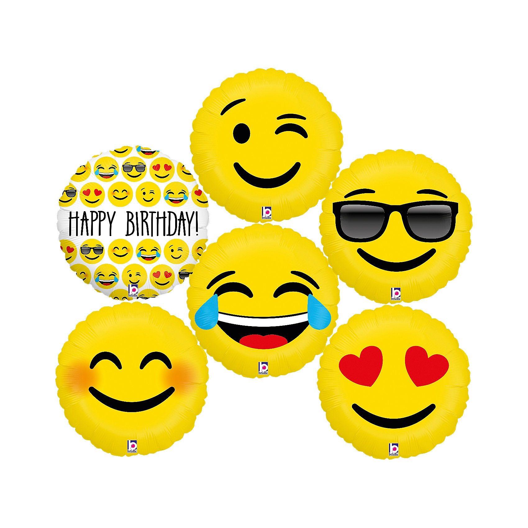 Karaloon Folienballon-Set Emojis 46 cm, 6 Stück