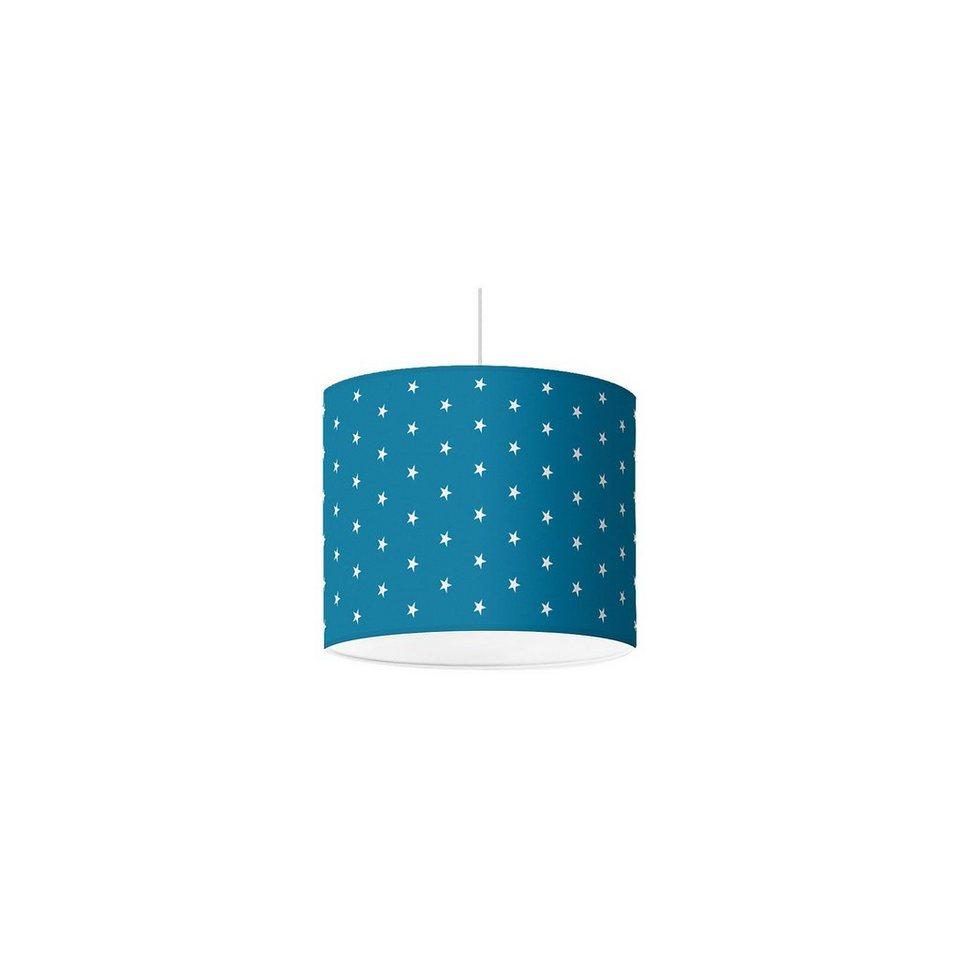 Lampenschirm Sterne, weiß-mittelblau, Ø16cm in blau