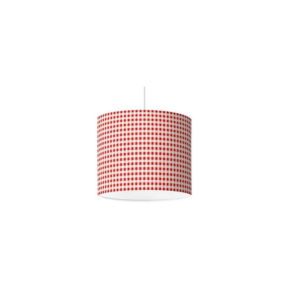 Lampenschirm Karo, rot, Ø16cm in rot