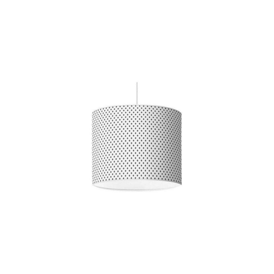 Lampenschirm Punkte, dunkelgrau-weiß, Ø16cm in grau