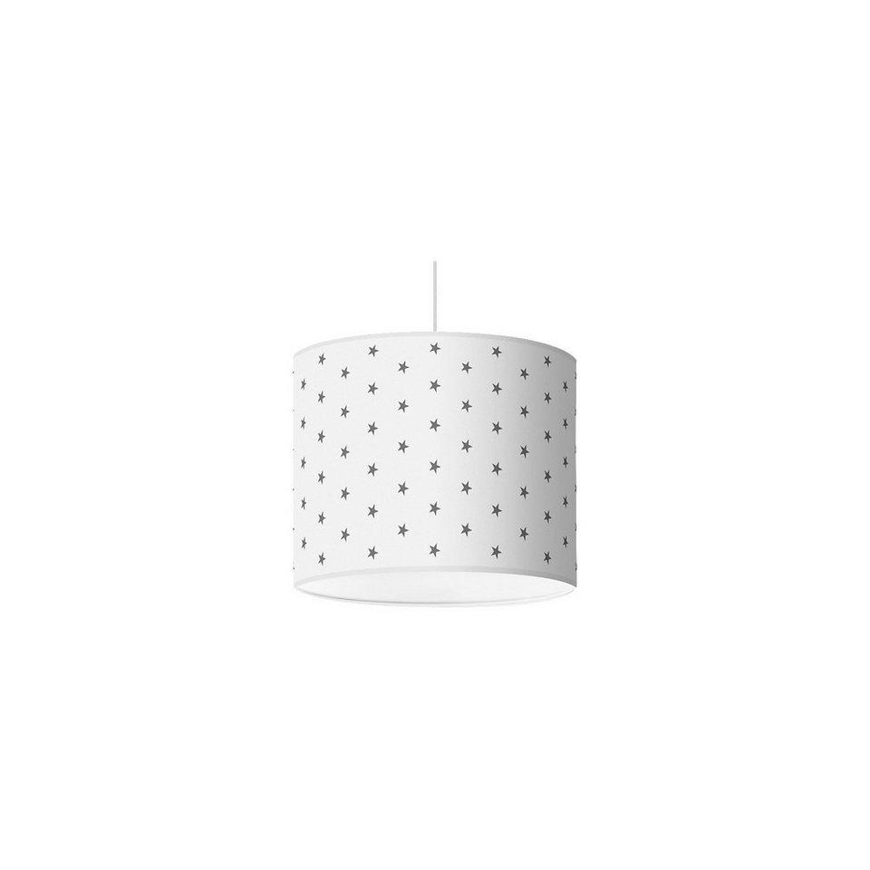 Lampenschirm Sterne, dunkelgrau-weiß, Ø40cm in grau