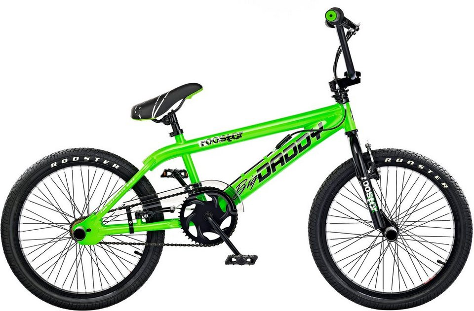 rooster bmx 20 zoll gr n v brakes big daddy spoked. Black Bedroom Furniture Sets. Home Design Ideas
