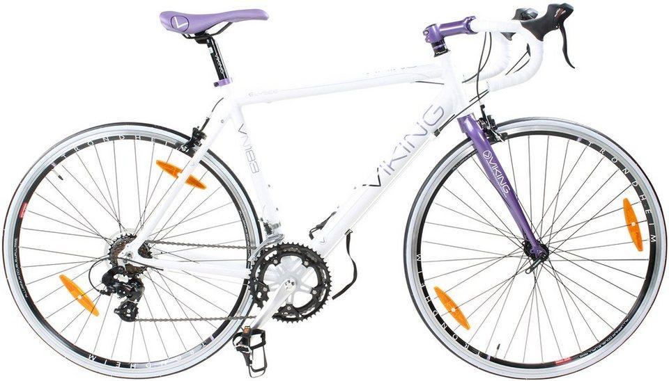 Viking Rennrad, 28 Zoll, 14 Gang Shimano Kettenschaltung, weiß/lila, Damen, »Elysee Sti« in weiß/lila