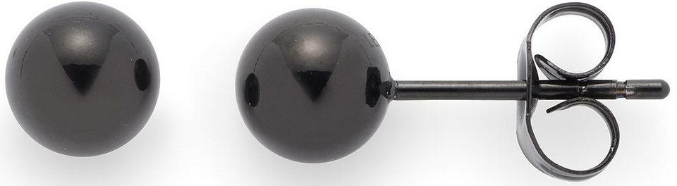 Jewels by Leonardo Paar Ohrstecker, »puntino stahl/schwarz, 015989« in schwarz